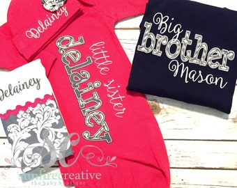 Big Brother Little Sister Set - Big Brother Shirt - Little Sister Gown - Baby Girl Coming Home Outfit - Sibling Shirt - Newborn Photo Outfit