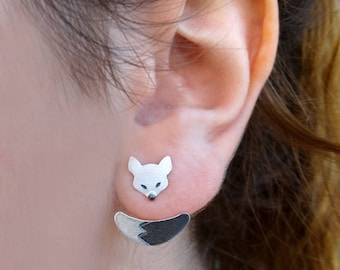 Ear Jacket Earrings, Ear jackets, Fox earrings, Dainty earrings, Sterling silver earrings, Women earrings, Gifts for women, Gifts for her
