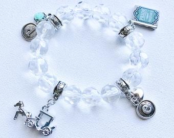 Pride and Prejudice Charm Braclet, Jane Austen Charm Bracelet, Stretch Charm Bracelet, Literature Charm Bracelet