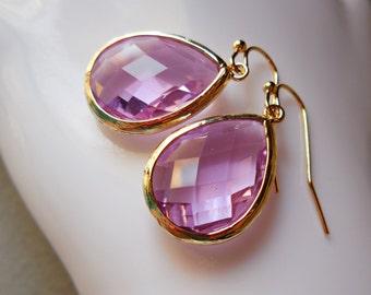 Lavender Amethyst drop earrings, glass earrings, faceted fancy dangle earrings, gold plated jewelry, earrings for women, rose pink purple