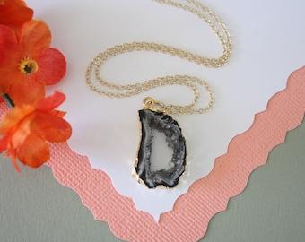 Tiny Geode Necklace, Druzy Necklace Gold, BoHo Necklace, Crystal Necklace, Geode Slice, Gold Slice Druzy,GCH16