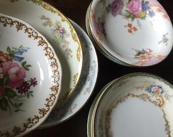 Set of 50 Vintage China Fruit Bowls for Tea Parties, Bridal Luncheons, Showers, Mismatched Tea Set, Alice in Wonderland