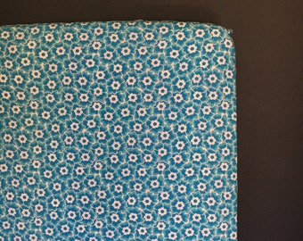 fitted crib sheet funky floral - blue and white Ready 2 Ship