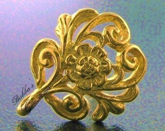 1 Pair (2) Bali Vermeil Floral Scroll Earring Posts