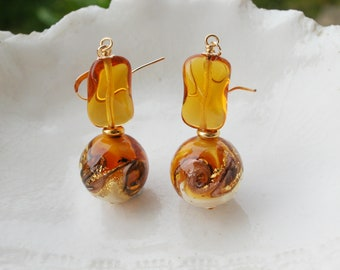 Amber Venetian Murano Glass  Earrings