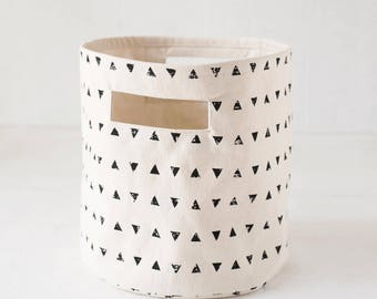 Storage basket, triangle print, black and white, canvas fabric, laundry hamper, fabric bucket, sizes available