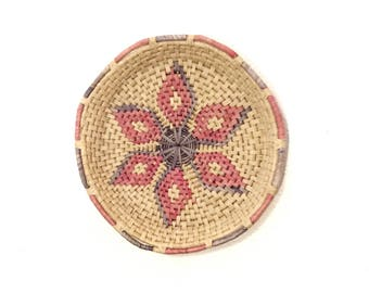 Vintage woven bowl/wicker basket/basket wall decor