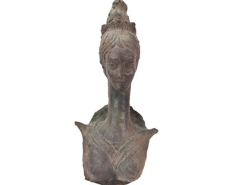 Mid-Century Modern Pottery Sculpture Long Neck Queen signed Arrigo