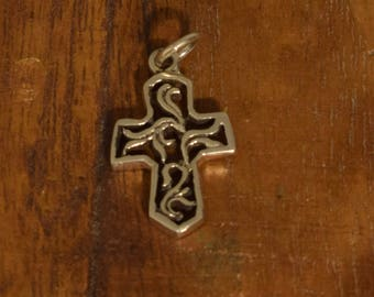 Cross Sterling Silver Pendant Charm Necklace Religious Jewelry Sterling Silver Cross