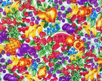 Vintage Joan Messmore Multi-Color Fruit Fabric, 6 yards, Mixed Fruit, Bananas, Pineapple, Strawberry, Watermelon, Cotton Fabric, VIP Print