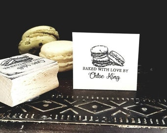 Personalised Macaroon Design Rubber Stamp, with your choice of name