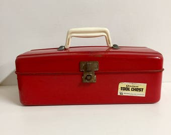 Red Toolbox/Tacckle Box/ Vintage Tool Box/ Vintage Tackle Box/Red Metal Tool Box/ Red Metal Tackle Boxl