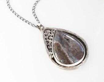 Polychrome Jasper Pendant Art Jewelry Necklace Sterling Silver OOAK Design
