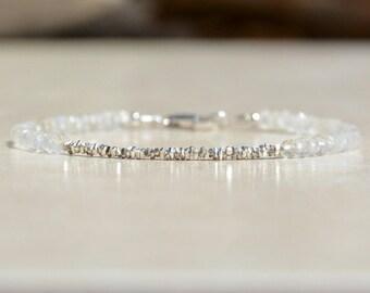 June Birthstone Bracelet, Moonstone Bracelet, Natural Gemstone Bracelet, Sterling Silver, June Bracelet, Gift for Her, Stacking Bracelet