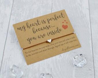 Heart Charm Wish Bracelet, Girlfriend Wish Bracelet, Boyfriend Wish Bracelet, Love Wish Bracelet, Heart String Bracelet and Gift Card