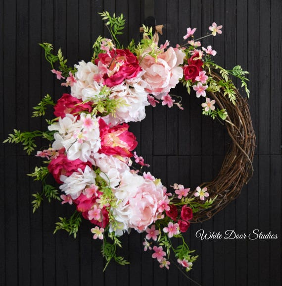 Ready to Ship Pink Hydrangea and Peony Spring and Summer Front Door Wreath