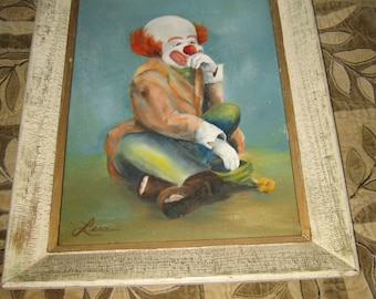 1960's Clown Oil Painting On Canvas Signed Lena Estate Find! #BV