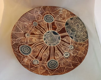 Ceramic carved round  platter / shallow bowl sgraffito blue and chocolate brown hand made