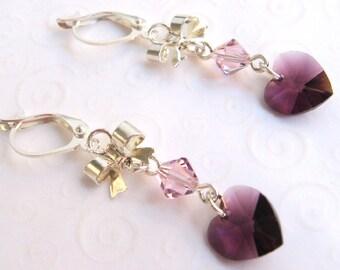 Purple Heart Earrings, Amethyst Purple Crystal Heart and Bow Earrings, Heart Crystal Earrings, February Birthstone Jewelry for Her