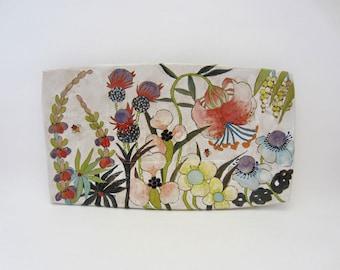 Flowers & Pigment Large Rectangular Tray