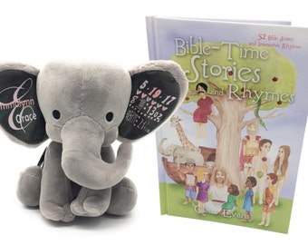Bible-Time Stories and Rhymes Kids Gift Set with Bible Story Book and Personalized Keepsake Elephant  Plush Toy