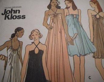 SALE Vintage 1970's Butterick 3407 John Kloss Gown Sewing Pattern, Size 12 Bust 34