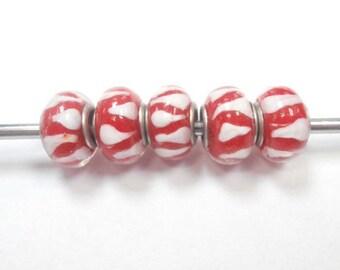 5 glass eyeball beads