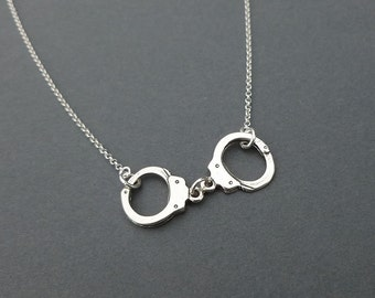 sterling silver handcuff necklace   charm necklace   gift for her