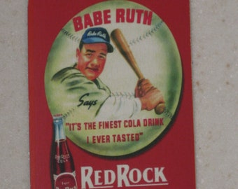 new just in babe ruth red rock cola card with autograph back