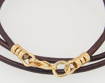 Leather Cord Necklace Gold-filled Findings