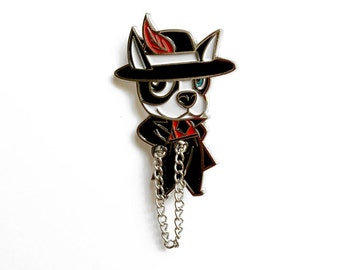 Zoot suit Boston Terrier enamel pin (Pachuco Boogie)