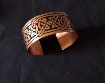 celtic copper bracelet, handmade celtic copper bracelet etching diy 3 cm adjustable cuff