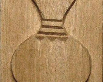 Oshiwa Carved Wood Printing Stamp, African Pot, 3.25'' square, Item 19-5-10