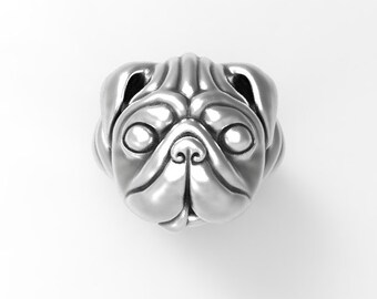 Pug dog Sterling Silver .925 ring