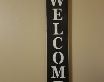 Welcome Primitive Handmade Wood Sign