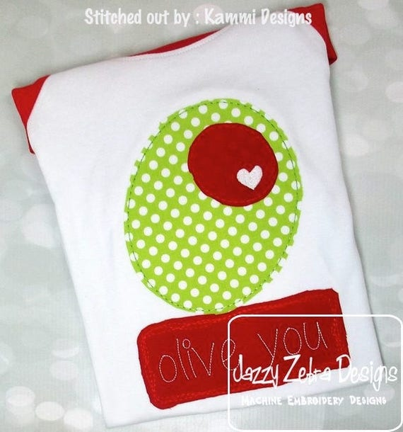 Olive you shabby chic appliqué embroidery design - olive appliqué design - olive you appliqué design - saying appliqué design - Valentines