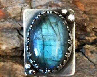 Sterling Silver - Oval Labradorite Ring Size 6