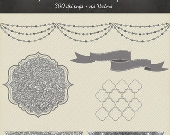 Silver Glitter Clipart Vector 8 Piece Pack - 6 Designs PNG Files & EPS Vectors - Digital Scrapbook Garland Quatrefoil Glitter Ribbons Frame