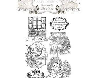 Transparent clear stamp scrapbooking AMY DESIGN vintage CHRISTMAS