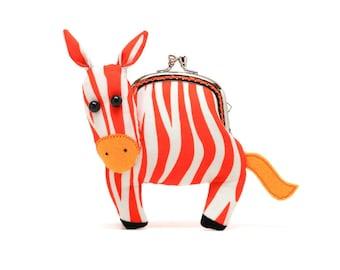 Agile red zebra clutch purse