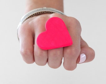 Pink Heart, Ceramic Ring, Gift for Her  - Mothers Day,  adjustable ring, statement ring, cocktail ring - handmade ring by StudioLeanne