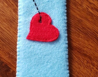 Bookmark. Handmade bookmark. Blue bookmark. Bookmark with herat. Valentine's Day gift. Mother's Day gift.