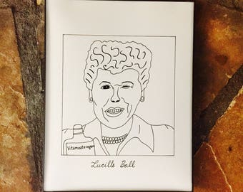 "Subpar Lucille Ball Portrait Drawing Print / I Love Lucy / Hand-Drawn / TV / Movie / 8.5"" x 11"" / Thick Card Stock Paper!"