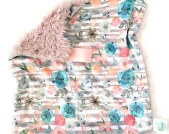READY TO SHIP. Watercolor Flowers Lovey, Floral Lovey, Floral Blanket, Baby Girl Blanket, Newborn baby, Security blanket, Minky Blanket,Baby