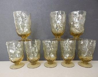 Set of 8 Morgantown Seneca Driftwood Footed Ice Tea Water Glasses Topaz