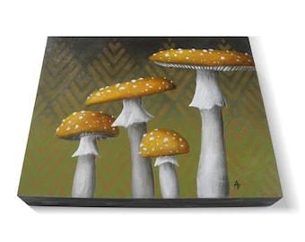 Speckled Mushroom painting - toad stool mushroom art - speckled toadstool painting - fungus original painting on panel - trippy shroom art