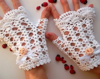 Crocheted Cotton Gloves Size M Ready To Ship Victorian Fingerless Summer Women Lace Wedding Evening Knitted Accessories Bridal Party White