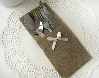 Set of 100-Burlap Silverware Holders with ivory bow - Rustic table decor