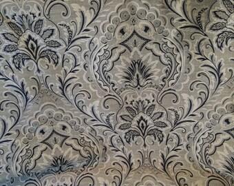 PAISLEY Taupe GRAY Cream Black Upholstery Fabric, 22-60-23-0915