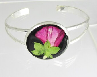 Pink Petals,  Real Flower Bracelet,  Adjustable, Pressed Flowers , Resin, Silver Plated Brass (1909)